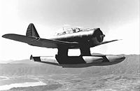 Royal Norwegian Navy Air Service Northrop N-3PB carrying out a test flight over Lake Elsinore, California, 1941