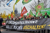 Protest against nuclear power in Cologne, Germany on 26 March 2011