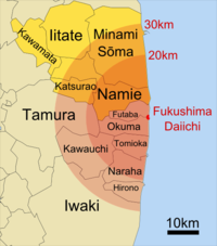 Japan towns, villages, and cities in and around the Daiichi nuclear plant exclusion zone. The 20 and 30 km areas had evacuation and shelter in place orders, and additional administrative districts that had an evacuation order are highlighted. However, the above map's factual accuracy is called into question as only the southern portion of Kawamata district had evacuation orders. More accurate maps are available.
