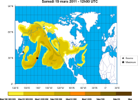 Calculated cesium-137 concentration in the air, 19 March 2011