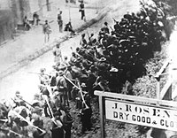 Confederate troops marching south on N Market Street, Frederick, Maryland, during the Civil War