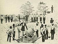 Confederate mortar crew at Warrington, Florida in 1861, across from Fort Pickens