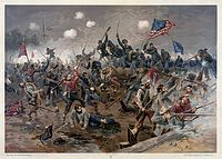 A painting of Lee's Army of Northern Virginia fighting the U.S. Army at Spotsylvania in 1864