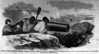An 1862 illustration of a Confederate officer forcing slaves at gunpoint to fire a cannon at U.S. soldiers in battle. A similar instance occurred at the first Battle of Bull Run, where slaves were forced by the Confederates to load and fire a cannon at U.S. forces.