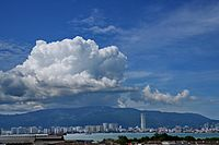 View of George Town as seen from Seberang Perai, with Penang Hill in the background