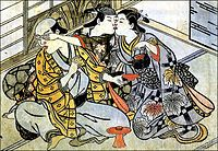 Shudo (Japanese pederasty): a young male entertains an older male lover, covering his eyes while surreptitiously kissing a female servant.