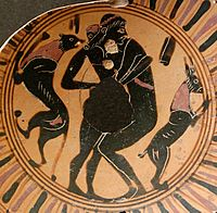 Young man and adolescent engaging in intercrural sex, fragment of a black-figure Attic cup, 550 BC–525 BC, Louvre