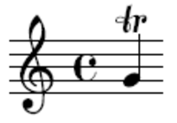 In a score or on a performer's music part, this sign indicates that the musician should perform a trill—a rapid alternation between two notes.