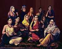 Indian women dressed in regional attire playing a variety of musical instruments popular in different parts of India