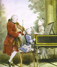 Wolfgang Amadeus Mozart (seated at the keyboard) was a child prodigy virtuoso performer on the piano and violin. Even before he became a celebrated composer, he was widely known as a gifted performer and improviser.