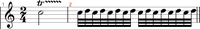 Trill sign—a rapid alternation between two notes. Trill example ornaments.mid
