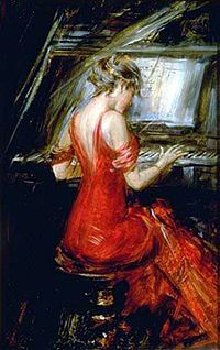 A painting by Boldini of a woman playing the piano