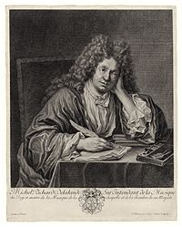 French Baroque music composer Michel Richard Delalande (1657–1726), pen in hand.