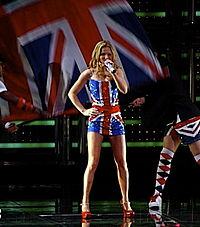 Halliwell wearing a replica of her iconic Union Jack dress