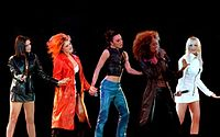 """The Spice Girls performing """"Say You'll Be There"""" at the McLaren party in 1997"""