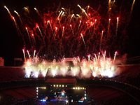 """Fireworks go off at the conclusion of the """"E! Street! Band!"""" exhortation during the final shows at Giants Stadium."""