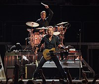 Springsteen performing with drummer Max Weinberg behind him, on the Magic Tour stop at Veterans Memorial Arena, Jacksonville, Florida, August 15, 2008.