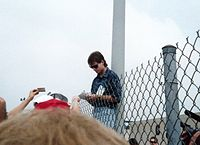 Gordon signing autographs for fans at the Open Test at the Indianapolis Motor Speedway in 1993.