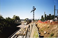 Commercial Drive station under construction in September 2001