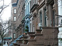 A typical midblock view on the Upper West Side consisting of 4- and 5-story brownstones