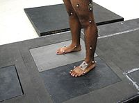 Reflective markers attached to skin to identify body landmarks and the 3D motion of body segments