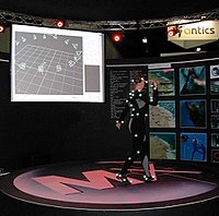 A dancer wearing a suit used in an optical motion capture system
