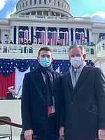 Tuberville with his son at the inauguration of Joe Biden.