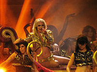 """Spears performing """"Gimme More"""", during the Femme Fatale Tour in 2011."""