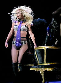 """Spears performing """"Freakshow"""" during The Circus Starring Britney Spears tour in 2009."""