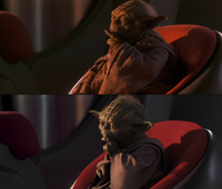 Comparison between the puppet of Yoda, present in the theatrical and DVD releases, and the computer-generated model, present in the Blu-ray Disc and 3D releases.