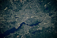 Photograph of Providence, Rhode Island taken from the International Space Station (ISS)