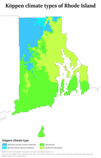 Köppen map showing the climate zones of Rhode Island using the -3 °C isotherm, which puts Providence in the humid subtropical regime.