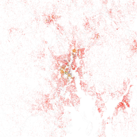 Map of racial distribution in Providence, 2010 U.S. Census. Each dot is 25 people: White, Black, Asian , Hispanic or Other (yellow)