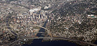 Downtown Providence and the East Side, 2010. Note the demolition of the previous I-195 as part of the Iway project.
