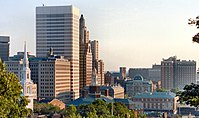 The Downtown Providence skyline, viewed from College Hill on the city's East Side