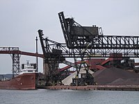 Container ship at Algoma Steel. The Great Lakes provide ocean access for industries in the province's interior.