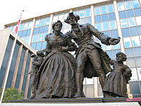A monument in Hamilton commemorating the United Empire Loyalists, a group of settlers who fled the United States during or after the American Revolution