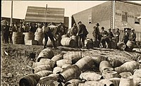 Law enforcement confiscate stores of alcohol in Elk Lake in an effort to enforce prohibition. The prohibition measures were introduced in 1916 and were not repealed until 1927.