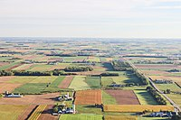 Aerial view of farms in Waterloo. A significant portion of the land in Southern Ontario is used as farmland.