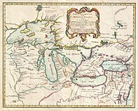 A 1755 map of the Pays d'en Haut region of New France, an area that included most of Ontario
