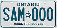 An Ontario licence plate with the slogan Yours to Discover at the bottom of the plate
