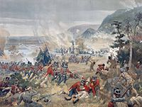 Depiction of the Battle of Queenston Heights, during the War of 1812. Upper Canada was an active theatre of operation during the conflict.