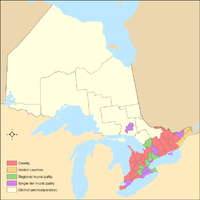 Map of the counties, regional municipalities, districts, and municipalities of Ontario.