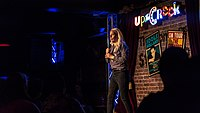 Sara Pascoe performing at the Up the Creek Comedy Club, London