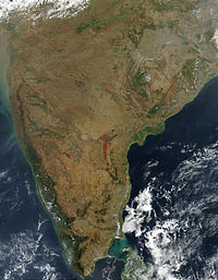 Satellite image of South India