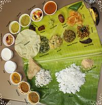 A traditional meal served on a banana leaf