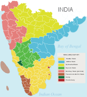 Map of South India (1953–1956) before the States Reorganisation Act of 1956