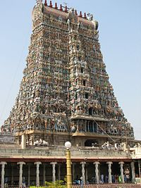 The large gopuram is a hallmark of Dravidian architecture.