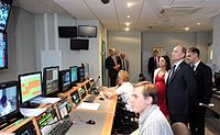 Vladimir Putin during a visit to the new RT broadcasting centre