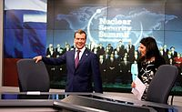 Former President of Russia Dmitry Medvedev visits RT offices with Editor-in-Chief Margarita Simonyan